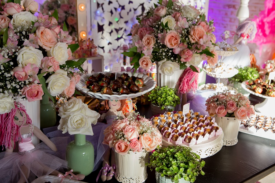 expressogourmet festa bailarina mesa doces detalhe Festa Infantil com Tema Bailarina